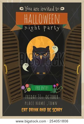 Halloween Vector Greeting Card With Owl Character,halloween Vector Cartoon Invitation , Halloween Ow