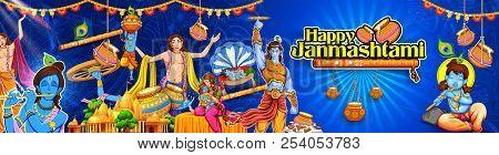 Chaitanya Mahaprabhu in devotion of Lord Krishna for Happy Janmashtami festival of India poster