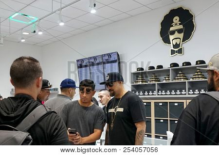 LOS ANGELES - AUG 15:  B Real of Cyprus Hill with customers at the Dr. Greenthumb Cannabis Dispensary Opening at 12751 Foothill Blvd. on August 15, 2018 in Sylmar, CA