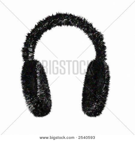Render Of A Black Furry Winter Earmuffs