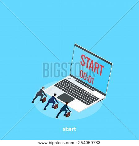 Men In Business Suits Prepared For The Start Of The Race, A Laptop With The Time Remaining Until The