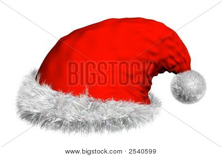 3D Render Of Isolated Red Santa Hat With White Fur