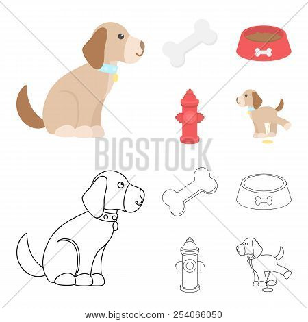 A Bone, A Fire Hydrant, A Bowl Of Food, A Pissing Dog.dog Set Collection Icons In Cartoon, Outline S