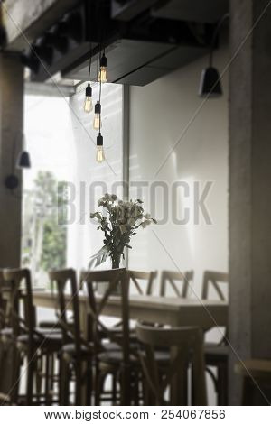 Small Coffee Shop Blurred Background, Stock Photo
