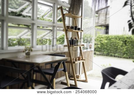 Outdoor Summer Cafe In The Morning, Stock Photo