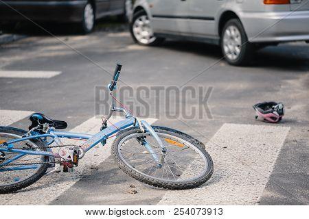 Kid's Bike On A Pedestrian Crossing Hit By Drunk Car Driver