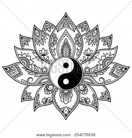 Mehndi lotus flower vector photo free trial bigstock mehndi lotus flower pattern with yin yang symbol for henna drawing and tattoo decoration mightylinksfo