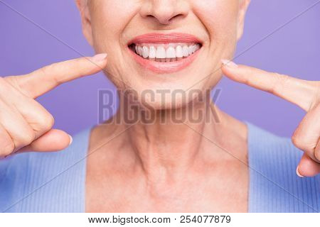 Concept Of Having Strong Healthy Straight White Perfect Teeth At Old Age. Cropped Portrait Of Beamin
