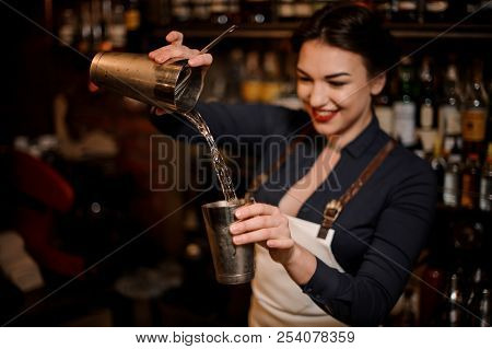 Beautiful sexy smiling barmaid with a deep neckline making a fresh summer cocktail in a shaker poster
