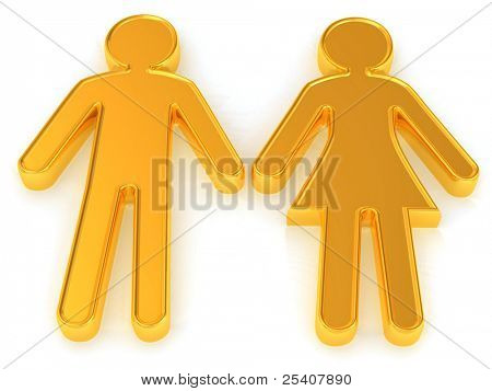 Male and female. Signs. 3d