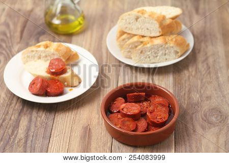 Chorizo Al Vino - Spanish Tapa Made Of Chorizo On Wine