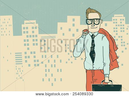 Businessman In Office Clothes On The Megapolis City Background For Text