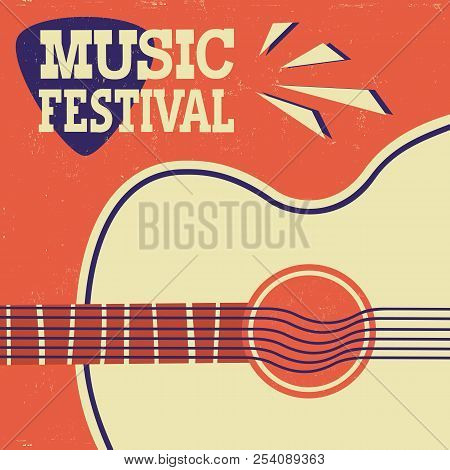 Music Poster Retro Background With Acoustic Guitar On Old Paper