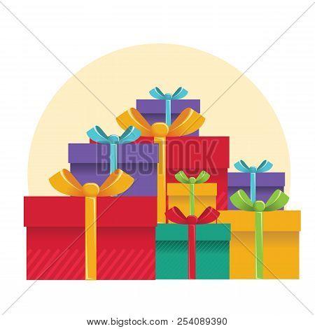 Gift Boxes .vector Color Presents Illustration For Design