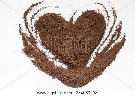 Coffee Valentine's Day. Coffee Heart. Heart Of Instant Coffee.