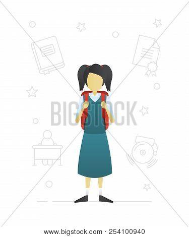Schoolgirl Flat Character Design. Grade Schooler. Girl In School Uniform With Rucksack. Vector Isola
