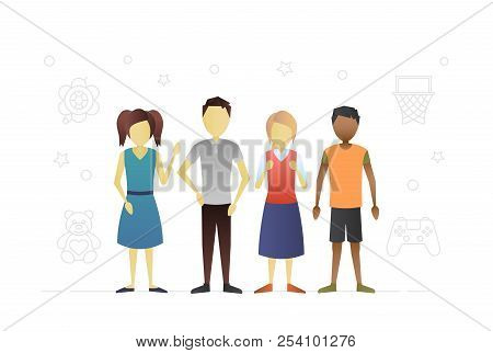 Group Of Children Flat Character Design
