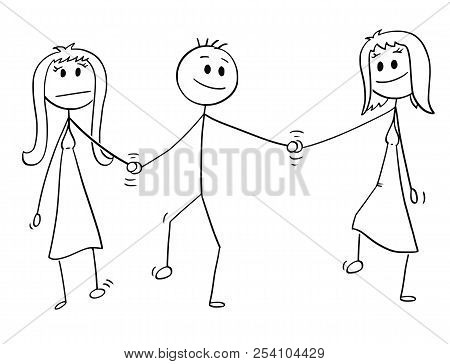 Cartoon Stick Drawing Conceptual Illustration Of Heterosexual Couple Of Man And Woman Walking Togeth