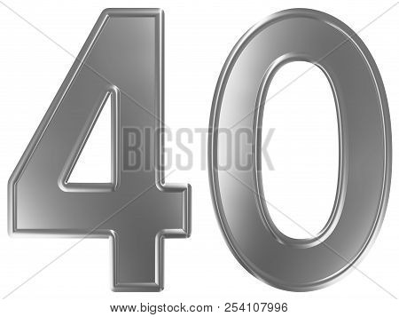 Numeral 40, Forty, Isolated On White Background, 3d Render