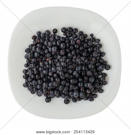 Blueberries On A Plate Isolated On White Background. Blueberry Kind On