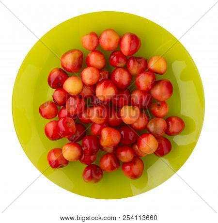Cherry White Isolated On A White Background. Cherry On A Plate. Healthy Food .