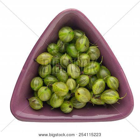 Gooseberries On Plate Isolated On White Background. Green Gooseberry