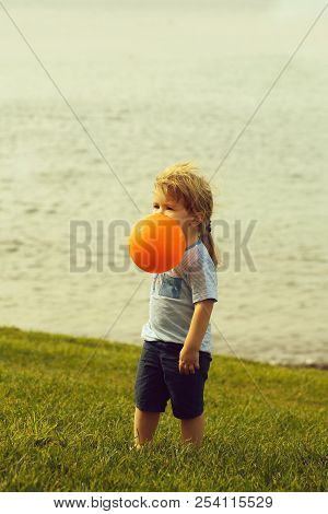 Cute baby boy with blond hair ponytail in blue tshirt and shorts plays with orange toy balloon on green grass by sea on sunny summer day on natural background. poster