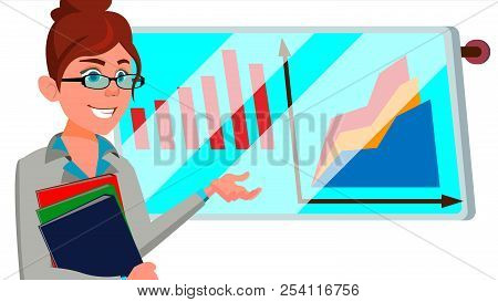 Broker Female Vector. Successful Stock-market Broker. Dynamics Of Financial Growth. Graphs, Indexes.
