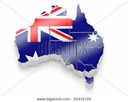 Map of Australia in Australian flag colors. 3d