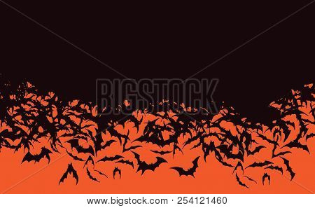 Background Of Halloween Bat Horde Flying Black Bats