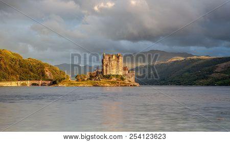 Eilean Donan Castle With Cloudy Sunset Sky  Highlands Scotland Landscape