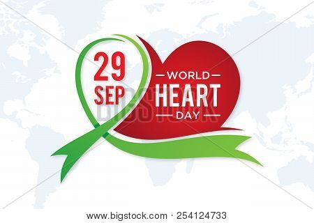 World Heart Day Greeting Card With Graphic Element Heart And Ribbon. Vector Illustration Concept Wor