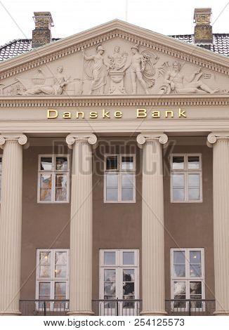 Copenhagen, Denmark - August 17, 2018: Danske Bank Logo On Wall Of Headquaters. Danske Bank Is The L