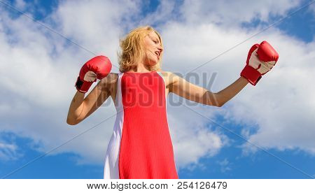 Lady Fighter Defend Her Point. Satisfied Free Girl Boxing Gloves. Femininity And Strength Balance. W