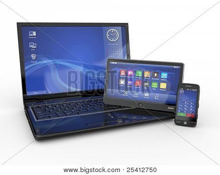Electronics. Laptop, mobile phone and tablet pc. 3d