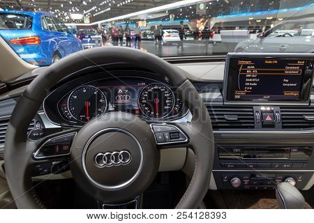 Brussels - Jan 12, 2016: Interior Dashboard And Steering Wheel Of The Audi A7 Car On Display At The
