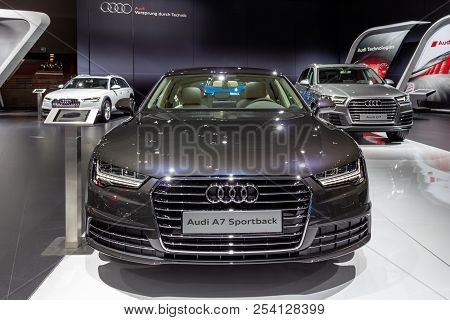 Brussels - Jan 12, 2016: Audi A7 Sportback Car Showcased At The Brussels Motor Show.