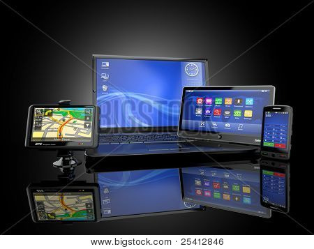Electronics. Laptop, mobile phone, tablet pc and gps. 3d