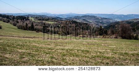 View To Moravskoslezske Beskydy Mountain Range With Highest Lysa Hora Hill From Vrchrieka Hill In Ja