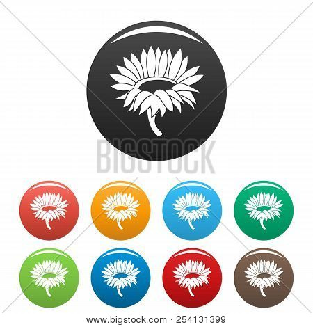 Blossoming Sunflower Icon. Simple Illustration Of Blossoming Sunflower Icons Set Color Isolated On W