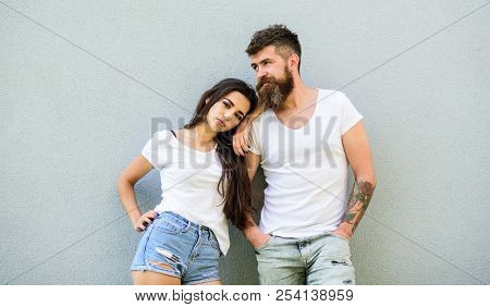 Couple White Shirts Cuddle Each Other. Hipster Bearded And Stylish Girl Hang Out Urban Romantic Date