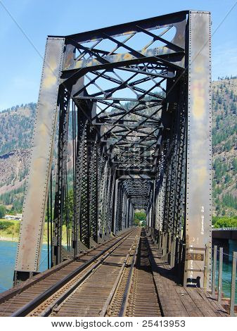 Train tracks through the bridge.