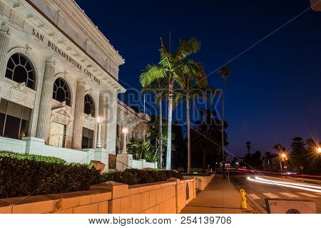 Dawn Breaking Over Ventura City Hall Building Lit Up At Night With Landscaping And Junipero Serra St