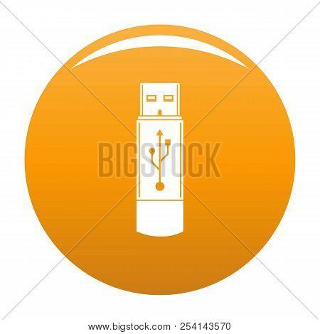 Portable Flash Drive Icon. Simple Illustration Of Portable Flash Drive Icon For Any Design Orange