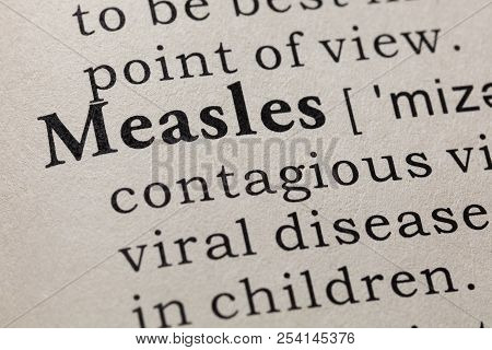Fake Dictionary, Dictionary Definition Of The Word Measles. Including Key Descriptive Words.
