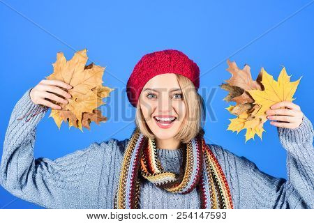 Autumn Model. Smiling Woman With Maple Leaves. Autumn Mood. Woman With Autumn Leaf. Yellow Maple Lea