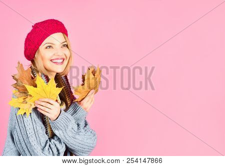 Autumn. Autumn Mood. Autumn Leaves. Smiling Woman Holds Yellow Maple Leaves. Woman With Autumnal Lea