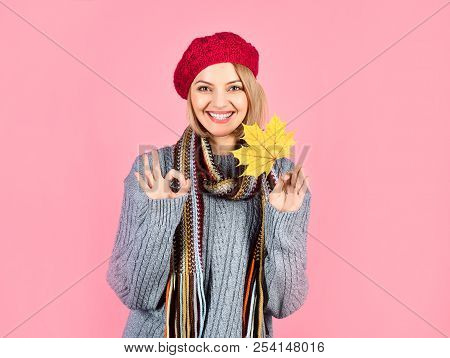 Autumn. Smiling Woman With Maple Leaf. Woman With Autumn Leaf Shows Sign Ok. Yellow Maple Leaf. Woma