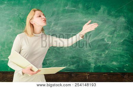 Back To School. Education. School. Job. Teacher In Classroom. Teacher With Folder. Female Teacher Wi