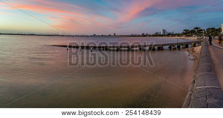 Melbourne Seen From St Kilda At Sunset In The Summer
